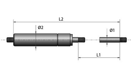 Teknisk ritning - Gänga i båda ändarna - svartmålad